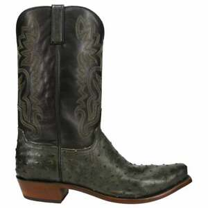 Lucchese Dante Ostrich Snip Toe   Mens  Dress Boots   Mid Calf  - Black,Green -