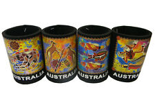 4 Australian Souvenir Aboriginal Indigenous Art Stubby Bottle Holder Coolers #1