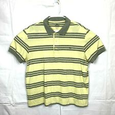 Lacoste Mens Size 6 SS Yellow Grey Striped Polo Shirt