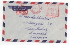 1957 DUTCH ANTILLES Air Mail Cover EMMASTAD CURACAO To DENMARK Meter Mail SLOGAN