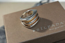 6 R1618 Modern 3 Lines Solid Htf Silpada New Sterling Silver Geometric Ring Size
