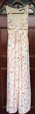 ZARA Japanese Floral Bird Print Maxi Dress Cut Out Side Detail Size XS
