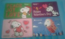 Four (4) Peanuts - Snoopy Gift Cards, Macy's, Walmart, Collectible, Mint