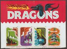 Scott #5307-10 Used Strip of 4, Dragons (On Sheet Paper) W/Full Header