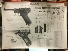German WWII Ordnance Chart, Luger Pistol, P08, 9mm, Poster 44in by 32in