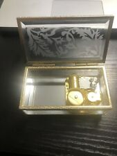 Vintage Yunsheng Etched Glass Music Jewelry Box