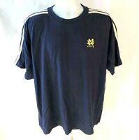 Adidas Team Mens L  Notre Dame Fighting Irish Blue 3 Stripe Shirt Cotton vtg