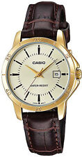 Casio LTP-V004GL-9A Women's Gold Tone Gold Dial Date Leather Band Dress Watch