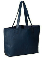 Bloomingdale's Faux snake Leather large Tote Bag Shopper Handbag BLUE purse new