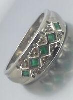 Stunning 0.30ct Emerald & Diamond Ring 9ct White Gold 2.8g size N1/2 RRP £399