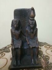 Rare Antique Ancient Basalt Stone Egyptian Pharaoh with Neferetum Statue Bc
