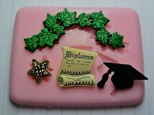 GRADUATION SILICONE MOULD FOR CAKE TOPPERS, CHOCOLATE, CLAY ETC