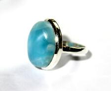 Sterling Silver Ring #7 ½ Excellent Natural Sky Blue Larimar .925