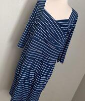 Navy Striped Ashro Three Quarter-Sleeve Bandage Dress, Size 1X
