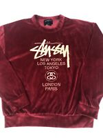 STUSSY Women's Top Velour Long Sleeve Red Size Small Suede Gold