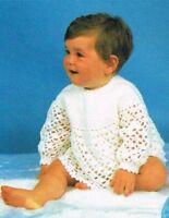 Baby Crochet pattern, Lacy angel top & matinee coat cardigan, dress, 4 ply. girl