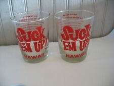 "Pr Vintage Don Ho Suck 'Em Up! Glass Barware Mai Tai Recipe 4 1/2"" 14 oz"