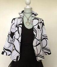 Sedanbi Black & White Textured Cropped Cotton Mix Jacket Unlined Size 10