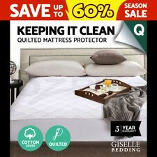 Fully Fitted Cotton Cover Quilted Bed Mattress Protector Topper Underlay Queen