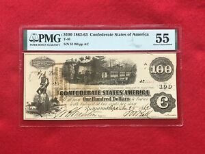 """T-40 1862-63 $100 Dollar CSA Confederate """"Train"""" Note *PMG 55 About Unc*"""