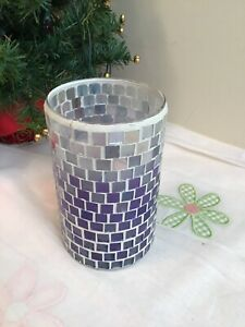 Purple Violet Tints Colored Mosaic Stained Glass Candle Holder - Home Decor