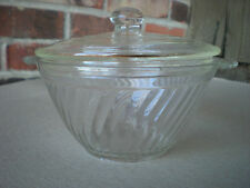 Clear Depression Glass Swirl Bowl with Handles and Lid