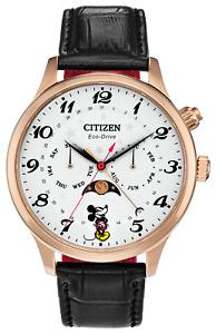 Citizen AP1053-15W Disney Mickey Mouse 43mm Case Leather Strap Watch