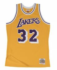 Magic Johnson #32 Lakers Mitchell & Ness NBA Mesh Throwback Jersey Yellow