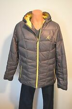 New $225 Nike Air Jordan Hyperply Players Jacket Puffer Grey/Yellow Coat XL