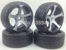 NEW 4x 1/10 Drift Wheels + Tyres 5 Spoke Black Silver Kforce 3mm OS / 12mm Hex