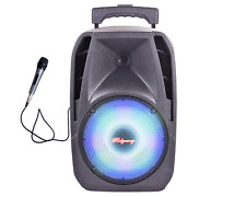 "Pro 8"" Portable Bluetooth PA Speaker Rechargeable Trolley USB TF FM AUX Lights"