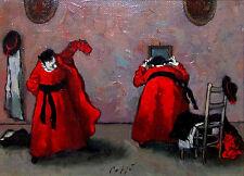 "NINO CAFFE Signed 1969 Original Oil on Canvas Painting - ""Libera Uscita"""