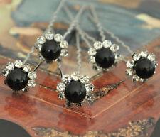 SET 10 PASADORES Negro Horquillas de Pelo Novia La adorno Perlas flor Estrás