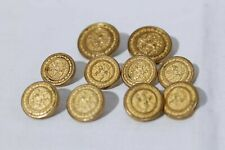 Holland & Sherry Gold Tone Blazer Buttons Passant Lion Lot of 10