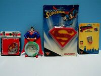 VINTAGE SUPERMAN 4-LOT - 2 ORNAMENTS, 1 COLLECTIBLE PINBACK, 1 SUPERMAN DOG TAG