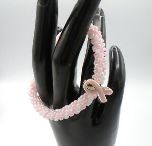 BREAST CANCER Pink Ribbon Beaded Kumihimo Bracelet Silver with Pink Ribbon Focal