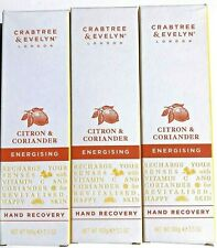 3- Crabtree & Evelyn Citron Coriander Hand Recovery Cream Energising 3.5 oz NEW