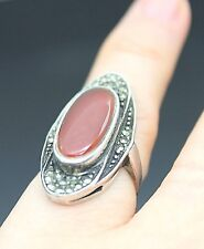 VINTAGE  MARCASITE CARNELIAN AGATE OVAL SHAPE  STERLING SILVER  RING SIZE 4