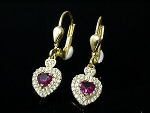 585 Gold Ohrringe mit  Rubin Herzen und Zirkonia  25 mm Länge  1 Paar mit Brisur