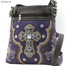 604W129 CROSS PURP WESTERN RHINESTONE HIPSTER CROSS BODY PURSE CONCEALED CARRY