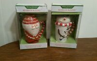 Lot of 2 NEW Sakura Beverage Buddies Santa and Snowman Lidded Latte Mug