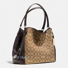 New Coach Edie 31 Shoulder Bag 36466 In Signature Brown Khaki NWT