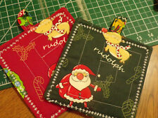 """Potholders Set of Two   """"RUDOLPH""""   100% Cotton Handmade By Mamie"""