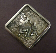 Man on a stool Made In Turkey Vintage Turkish 900 Silver Pin Brooch Hodja