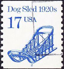 US - 1986 - 17 Cents Bright Blue Dogsled Transportation # 2135 Plate #2 Single