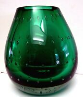 Erickson Art Glass Green controlled Bubbles bookend vase