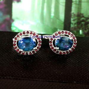 Natural Blue topaz & Garnet Gemstones with 925 Sterling Silver Cufflinks for men