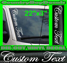 CUSTOM TEXT Script VERTICAL Windshield Vinyl Side Decal Sticker Car Truck
