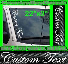 CUSTOM TEXT Script VERTICAL Windshield Vinyl Side Decal Sticker Car Truck Boat
