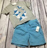 Baby Gap Boys 2 / 2T Outfit. 2-Piece Outfit Shark Shirt & Aqua Blue Shorts. Nwt